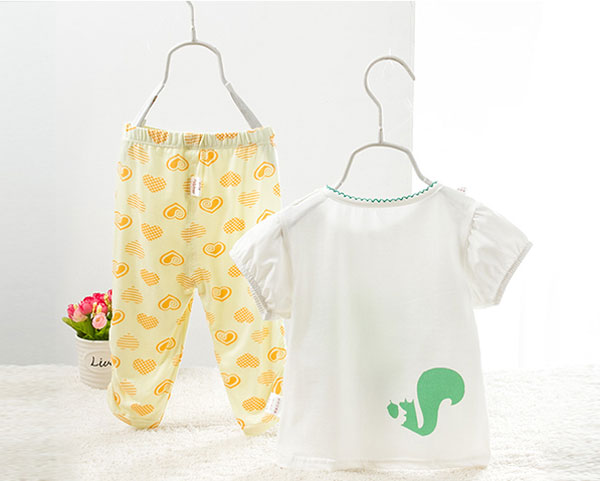 summer cotton cute baby girl pajama set