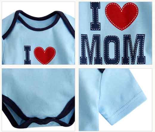Lovely baby bodysuit blue detail